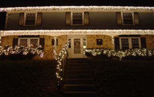 Home with holiday lights