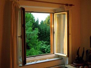 window open in a room